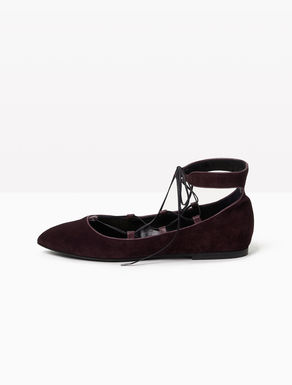 Lace-up suede ballerinas