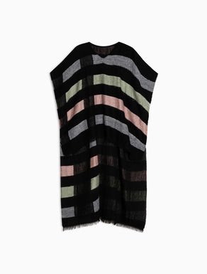 Jacquard striped poncho