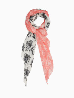 Printed cotton and silk scarf