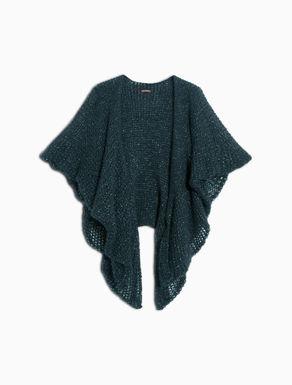 Lamé mohair knit poncho