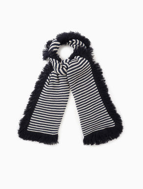 Striped knit scarf with fringe