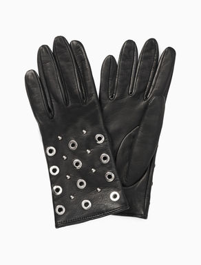 Nappa gloves with metal elements
