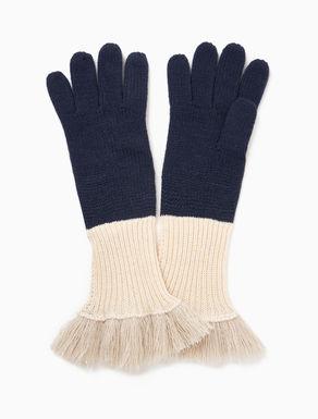 Knit gloves with fringe