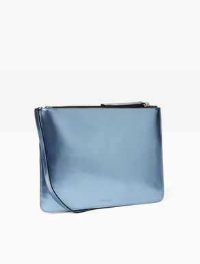 Metal-effect leather clutch