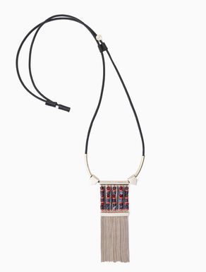 Necklace with mosaics and fringe