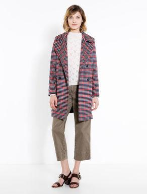 Checked drap coat