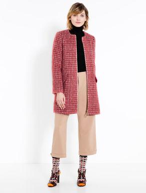 Check alpaca blend coat