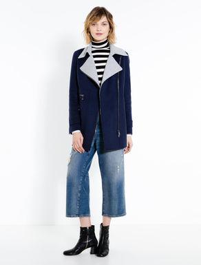 Mini two-tone biker coat