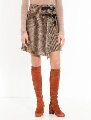 Diagonal basketweave A-line skirt