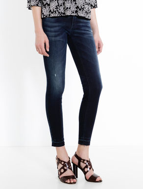 Overdyed blue skinny-fit jeans