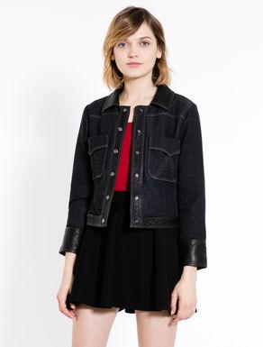Denim-effect sweater jacket