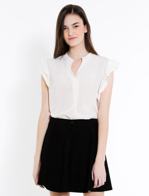 Silk and jersey blouse with ruching