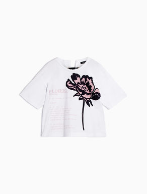 Printed jersey and poplin T-shirt