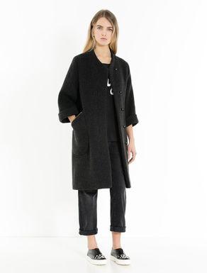 Diagonal double-weave coat