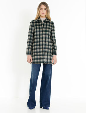 Check wool and mohair coat