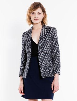Geometric jacquard blazer