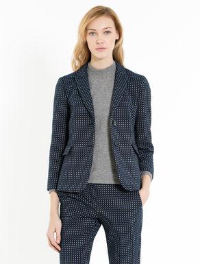Geometric jacquard slim-fit blazer
