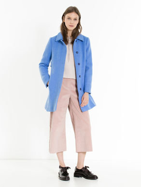Double-cloth A-line coat