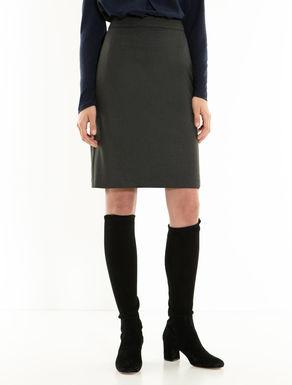 Stretch fabric sheath skirt