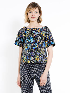 Printed ottoman blouse