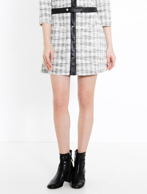 Basketweave jersey A-line skirt