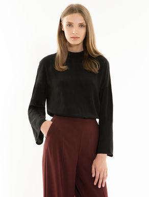 Bluse aus Sablé und Jersey