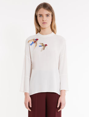 Sablé and jersey embroidered blouse
