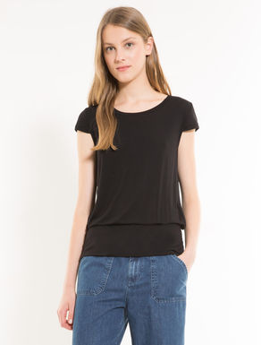 Jersey T-shirt with pleats