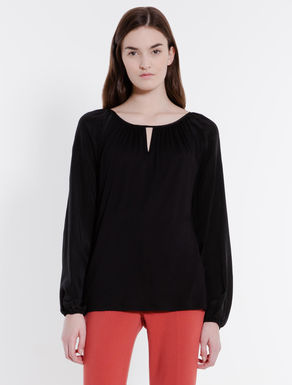 Jersey and silk blouse