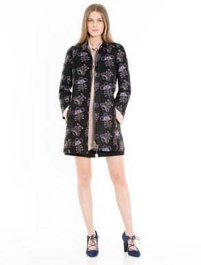 Floral jacquard overcoat