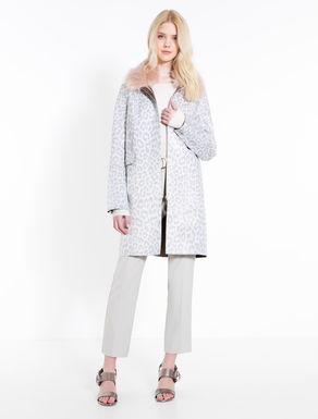 Speckled print overcoat