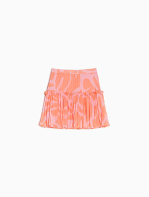 Pleated mini-skirt in floral chiffon