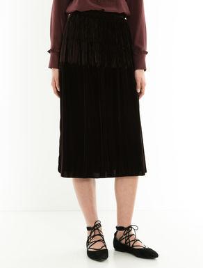 Pleated velvet midi skirt