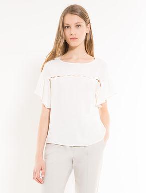 Bluse aus Sablé mit Cut-Outs