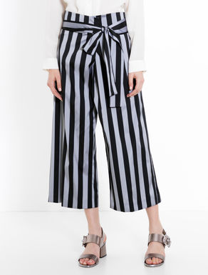 Pantaloni sarong di taffettà a righe