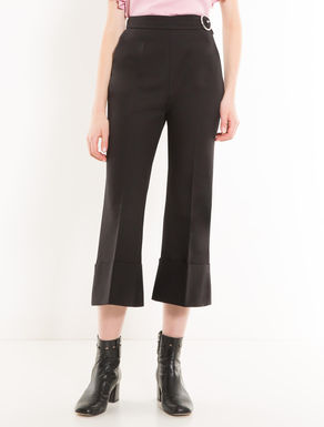 Cropped wide-fit cotton trousers