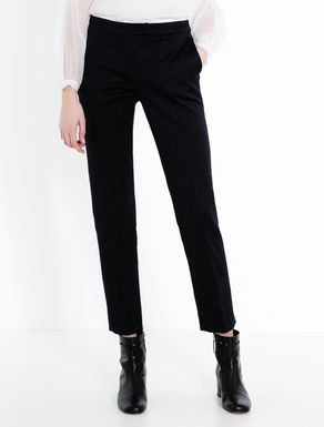 Geometric jacquard slim-fit trousers