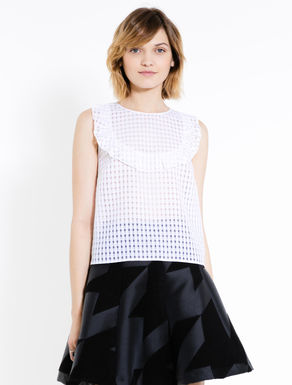 Jacquard organza top with ruching