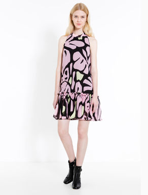 Pleated dress in printed chiffon