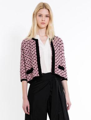 Two-tone boxy knit jacket