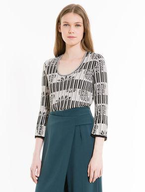 Plissee-Pullover mit U-Ausschnitt