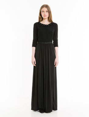 Jersey and sablé long dress