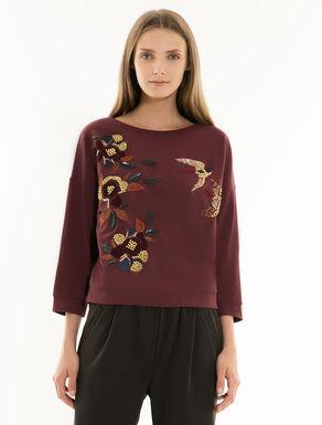 Baumwoll-Sweatshirt mit Stickerei