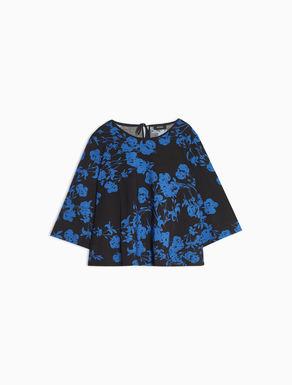 Floral jersey A-line T-shirt