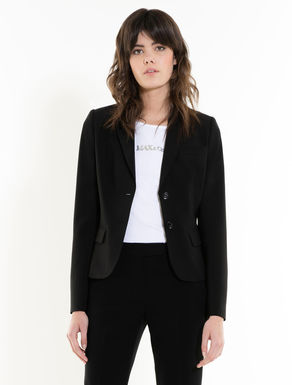 Slim-fit fluid fabric blazer
