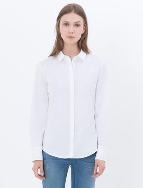 Camicia slim di popeline stretch
