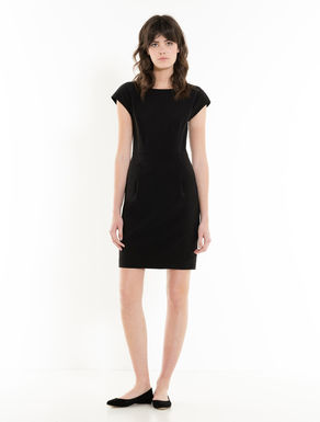 Fluid fabric sheath dress