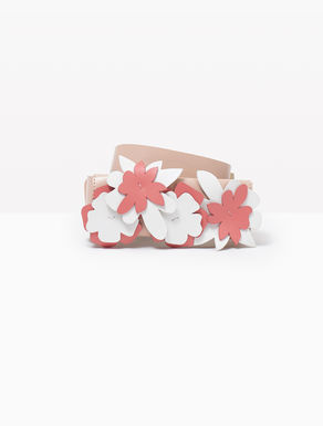 Leather belt with appliqué flowers