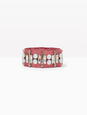 Grosgrain belt with rhinestones