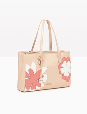 Leather shopper bag with flowers